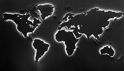 world map outlined for international logistics